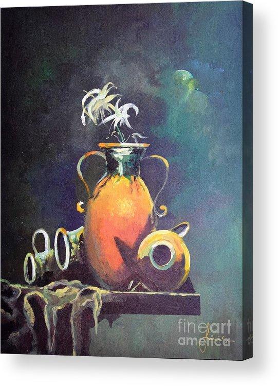 Still Life Acrylic Print featuring the painting Midnight Moon by Sinisa Saratlic