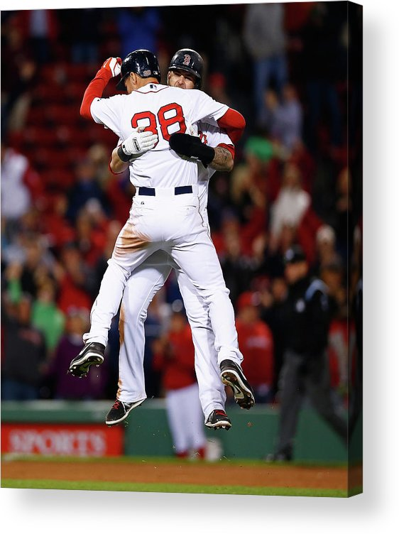 American League Baseball Acrylic Print featuring the photograph Mike Napoli and Grady Sizemore by Jared Wickerham