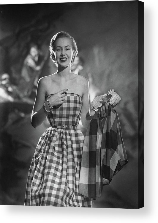 Fashion Acrylic Print featuring the photograph Mrs. William McManus Wearing Gingham-Check by Ted Croner