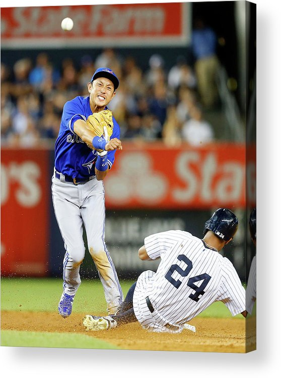 Double Play Acrylic Print featuring the photograph Munenori Kawasaki and Chris Young by Jim Mcisaac
