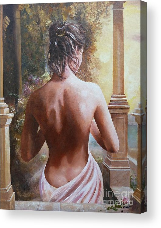 Female Figure Acrylic Print featuring the painting On The Doorway by Sinisa Saratlic