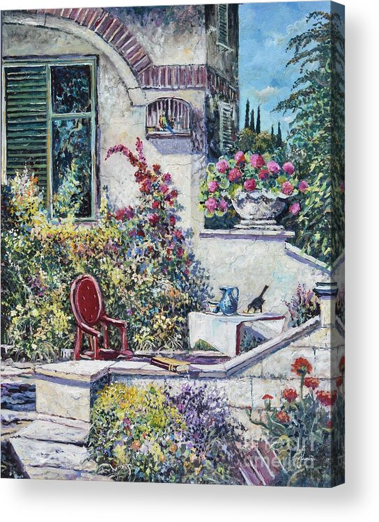 Original Painting Acrylic Print featuring the painting On The Porch by Sinisa Saratlic