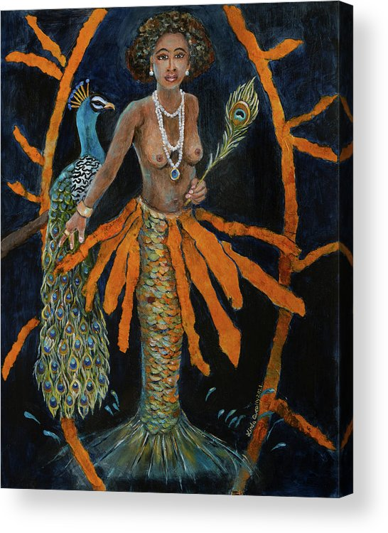 Oshun Acrylic Print featuring the painting Oshun by Linda Queally