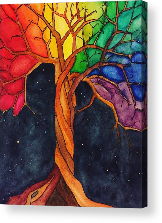 Rainbow Acrylic Print featuring the painting Rainbow Tree with Night Sky by Vonda Drees