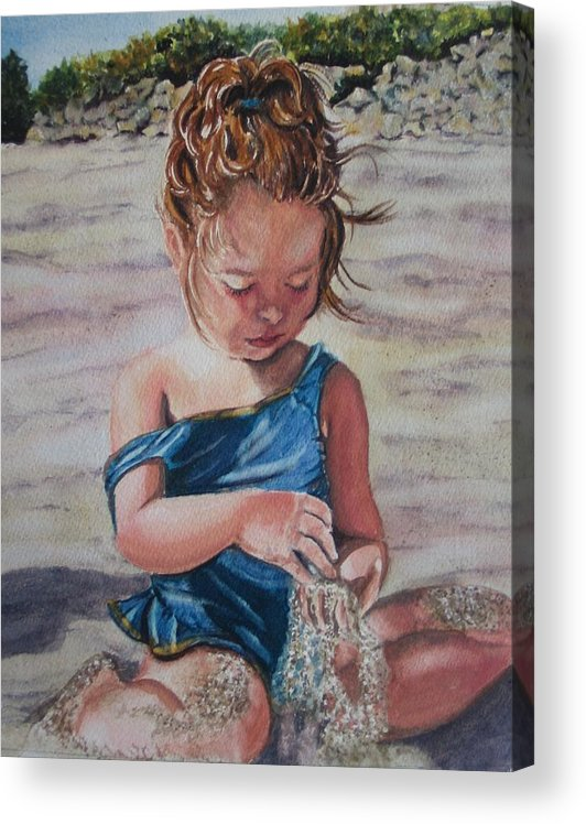 Beach Acrylic Print featuring the painting Sand by Karen Ilari