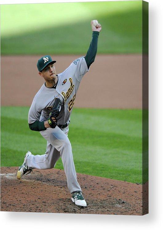 American League Baseball Acrylic Print featuring the photograph Scott Kazmir by Hannah Foslien