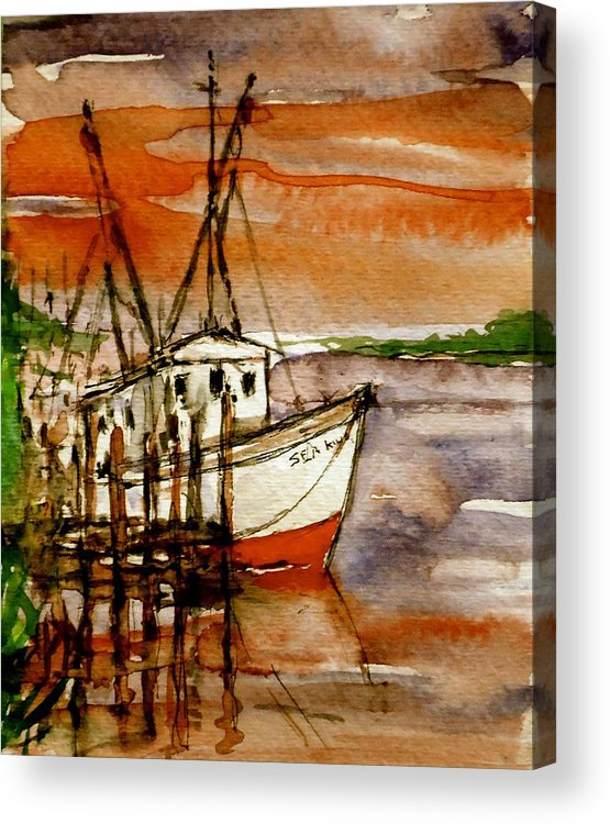 Fishing Boat Acrylic Print featuring the painting Seaking by Pete Maier