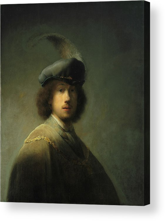 Rembrandt Van Rijn Acrylic Print featuring the painting Self-Portrait at Age 23 by Rembrandt