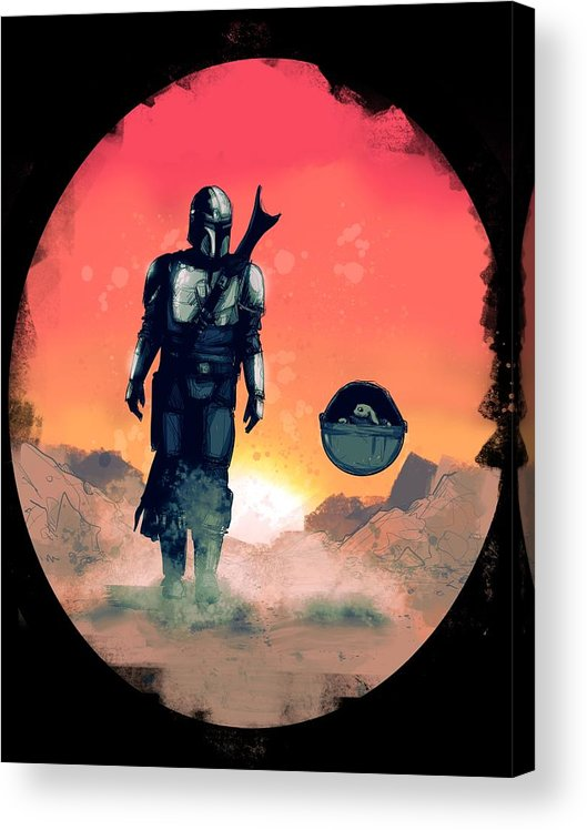 Mando Acrylic Print featuring the drawing Space Dad by Ludwig Van Bacon