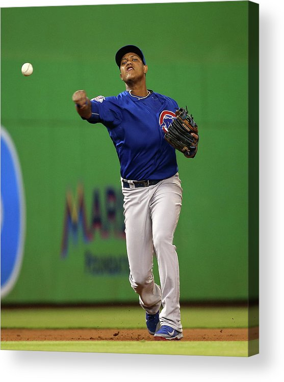 People Acrylic Print featuring the photograph Starlin Castro by Mike Ehrmann