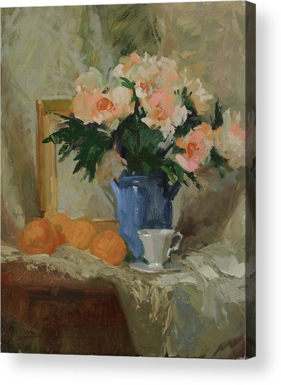 Still Life Acrylic Print featuring the painting Tea and Roses by Betty Jean Billups