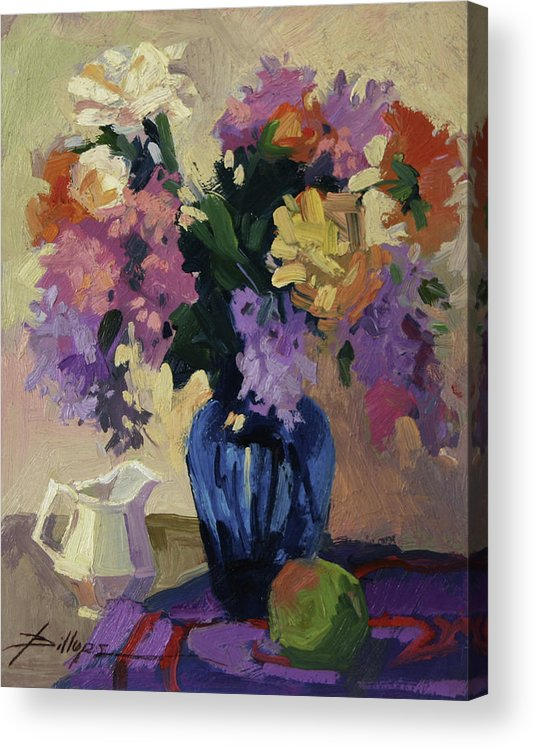 Still Life With Blue Vase Acrylic Print featuring the painting The Blue Vase by Betty Jean Billups