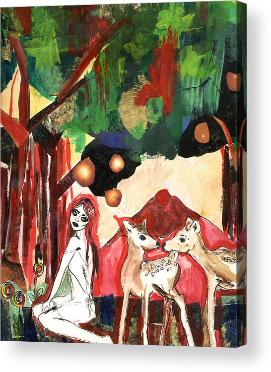 Collage Acrylic Print featuring the mixed media the Red Forest by Kamilah Varushka