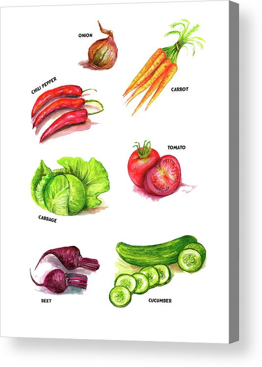 Vegetables Acrylic Print featuring the painting Vegetables kitchen art by Natalja Picugina