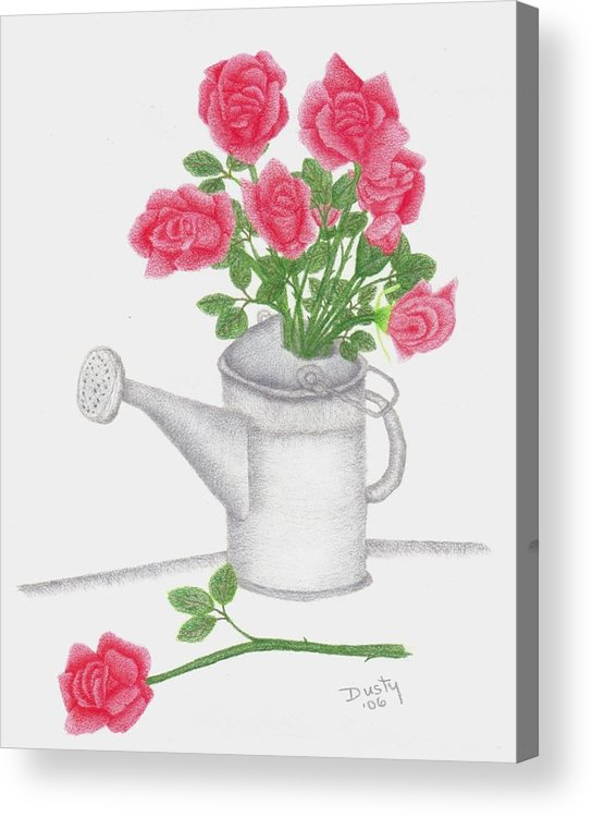 Rose Acrylic Print featuring the drawing Watering Can With Red Roses by Dusty Reed