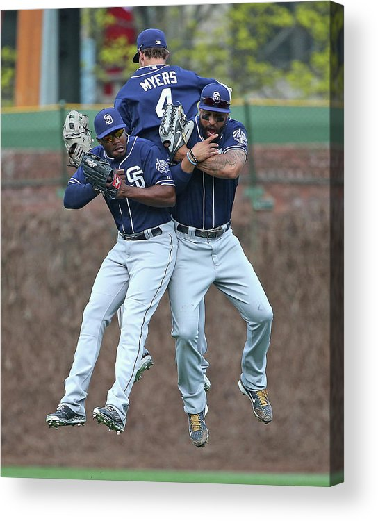 American League Baseball Acrylic Print featuring the photograph Wil Myers, Will Venable, and Matt Kemp by Jonathan Daniel