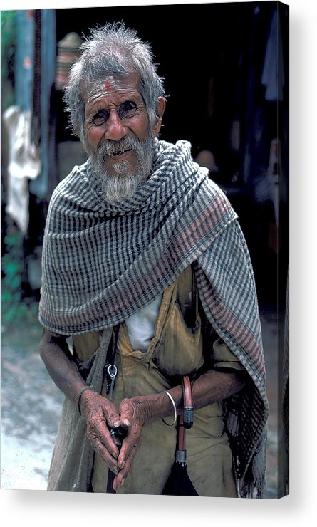 Holy Man Acrylic Print featuring the photograph Holy Man In Nepal by Carl Purcell