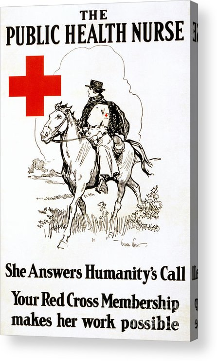 1917 Acrylic Print featuring the photograph Red Cross Poster, C1917 by Granger