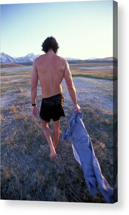 Adventure Acrylic Print featuring the photograph A Man Takes Off His Clothes And Walks by Corey Rich
