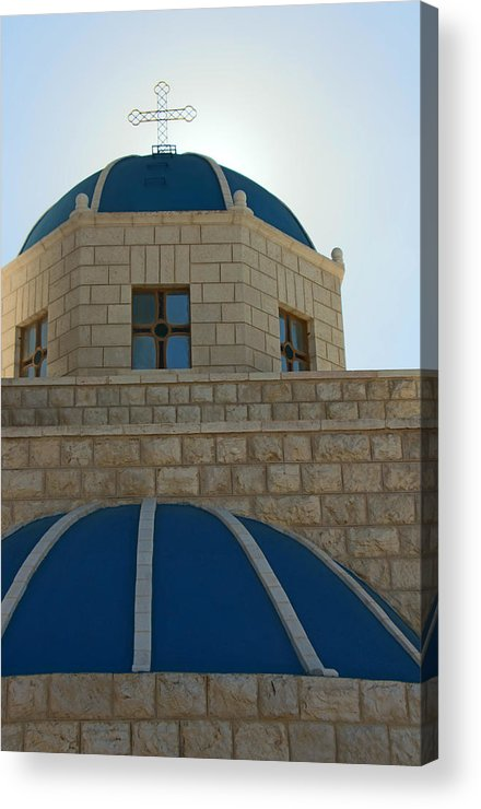 Orthodox Acrylic Print featuring the photograph Blue Domes by Munir Alawi