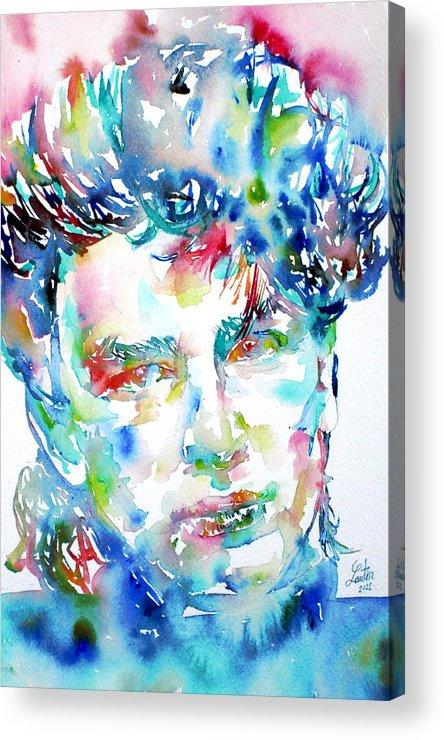 Bono Acrylic Print featuring the painting Bono Watercolor Portrait.1 by Fabrizio Cassetta