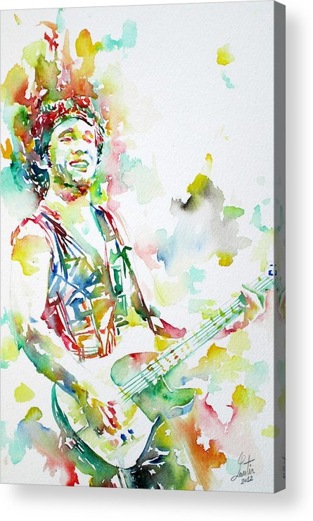 Bruce Acrylic Print featuring the painting Bruce Springsteen Playing The Guitar Watercolor Portrait.2 by Fabrizio Cassetta