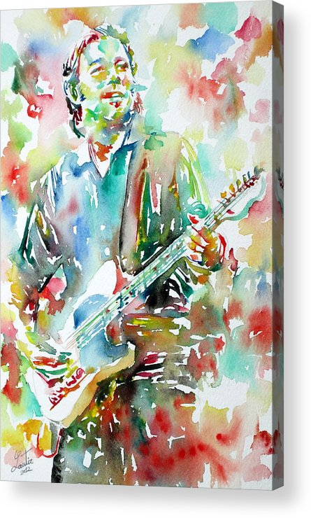 Bruce Acrylic Print featuring the painting Bruce Springsteen Playing The Guitar Watercolor Portrait.3 by Fabrizio Cassetta