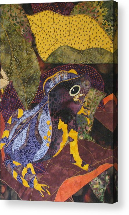 Nature Tapestries Textiles Acrylic Print featuring the tapestry - textile Camouflaged Forest Toad by Lynda K Boardman