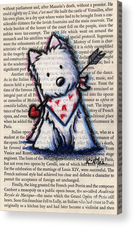 Cupid Acrylic Print featuring the drawing Cupid Westie by Kim Niles