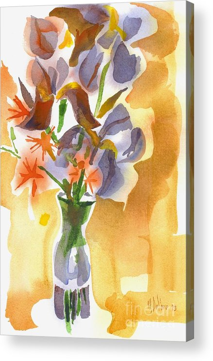 Irises With Stars Of Bethlehem Acrylic Print featuring the painting Irises With Stars Of Bethlehem by Kip DeVore