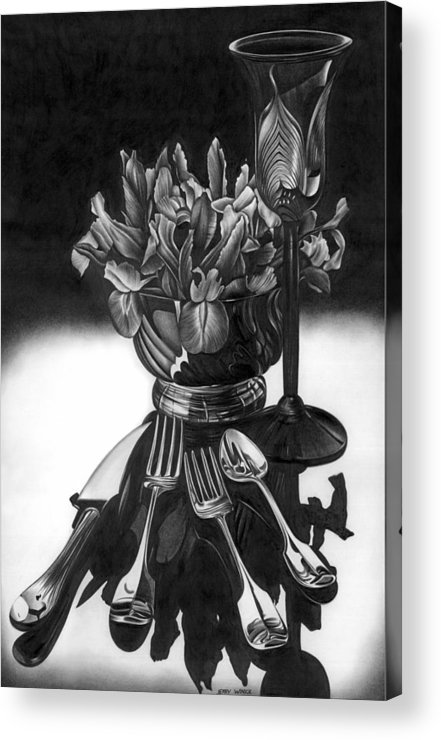 Still Life Acrylic Print featuring the drawing Knives And Forks by Jerry Winick