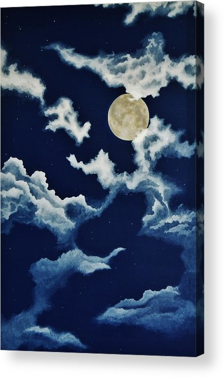 Print Acrylic Print featuring the painting Look At The Moon by Katherine Young-Beck