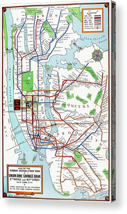 New York Subway Map To Print.New York Subway Map 1940 Acrylic Print