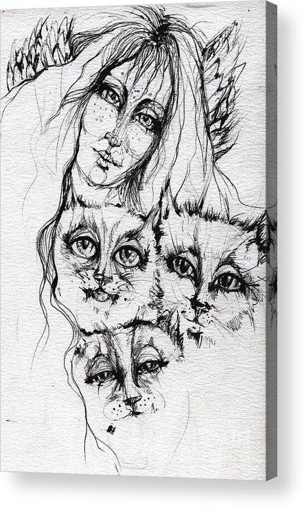 Angel Acrylic Print featuring the drawing One Angel Three Cats by Angel Ciesniarska