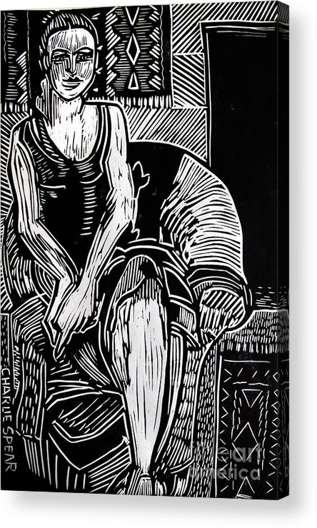 Lino-cut Acrylic Print featuring the relief Reclining by Charlie Spear