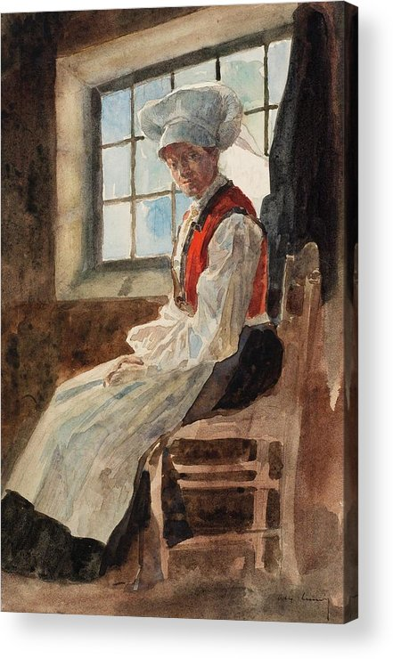 Scandinavia Acrylic Print featuring the painting Scandinavian Peasant Woman In An Interior by Alexandre Lunois