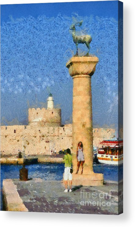 Rhodes Acrylic Print featuring the painting Taking Pictures At The Entrance Of Mandraki Port by George Atsametakis