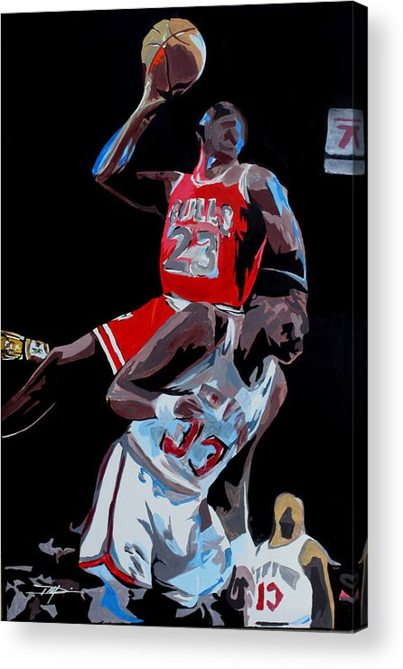 Michael Jordan Acrylic Print featuring the drawing The Dunk by Don Medina