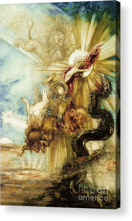 Symbolist; Greek; God; Chariot; Monster; Sun; Scorpio; Lion; Leo; Cabinet Des Dessins; Constellation; Zodiac; Youth; Terror; Phaeton; Son Of Helios; Drives Sun Chariot Too Close To Earth; Killed By Thunderbolt From Zeus To Prevent Disaster Acrylic Print featuring the painting The Fall Of Phaethon by Gustave Moreau