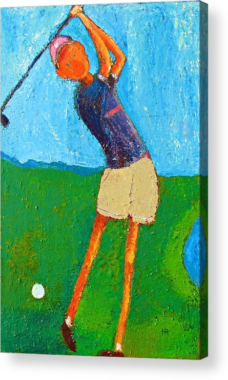 Abstract Acrylic Print featuring the painting The Little Golfer by Habib Ayat