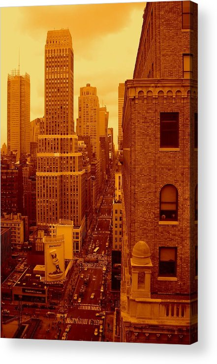 Manhattan Posters And Prints Acrylic Print featuring the photograph Top Of Manhattan by Monique's Fine Art