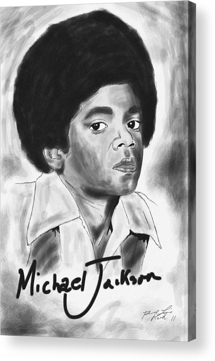 Young Michael Jackson Acrylic Print featuring the drawing Young Michael Jackson by Kenal Louis