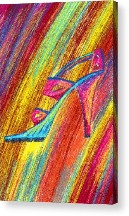 A High Heel Acrylic Print featuring the painting A High Heel by Kenal Louis