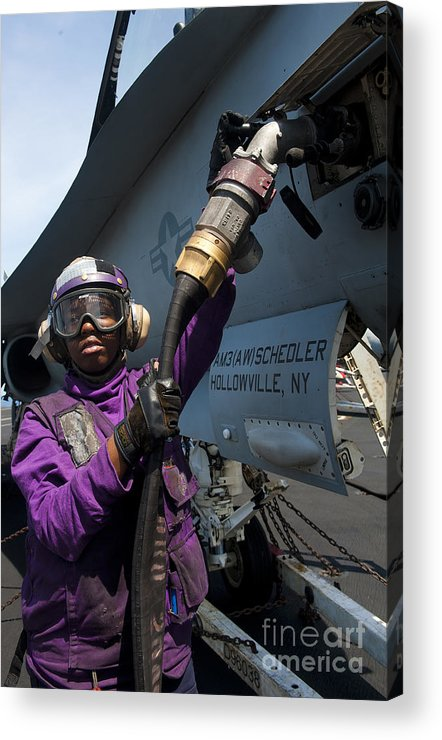 Warship Acrylic Print featuring the photograph Airman Fuels An Fa-18c Hornet by Stocktrek Images