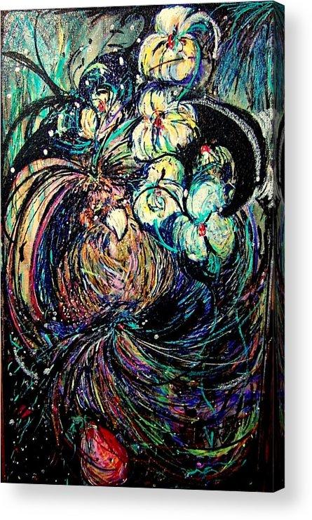 Bird Acrylic Print featuring the mixed media Bird And Flowers by YoMamaBird Rhonda