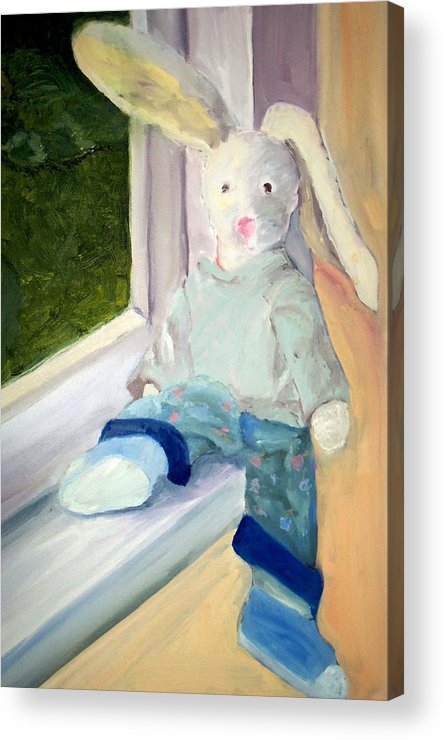 Bunny Acrylic Print featuring the painting Bunny On Window Ledge by Sarah Howland-Ludwig