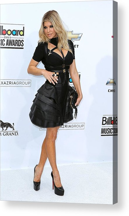 Fergie Acrylic Print featuring the photograph Fergie Wearing A Herve Leger By Max by Everett