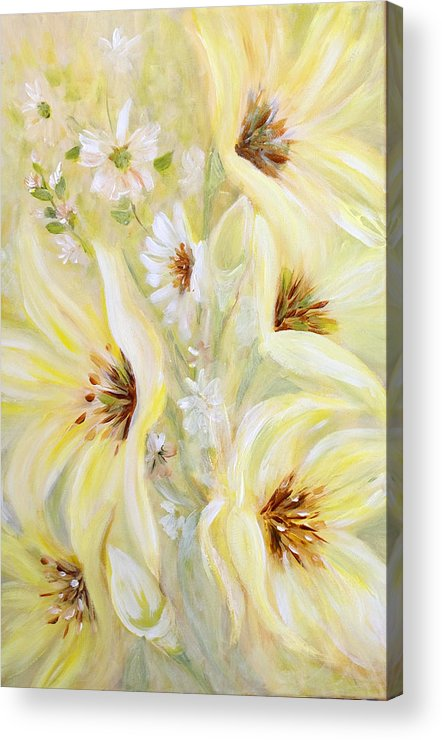 Lilies Acrylic Print featuring the painting Lemon Chiffon by Joanne Smoley