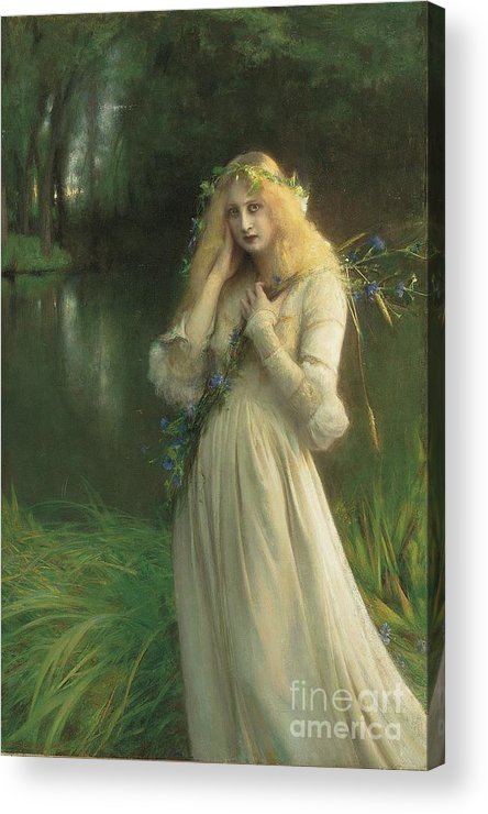Ophelia Acrylic Print featuring the painting Ophelia by Pascal Adolphe Jean Dagnan Bouveret