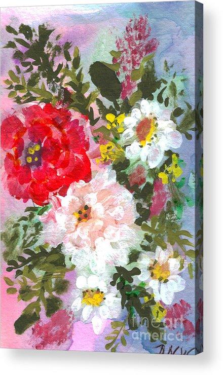 Splashy Acrylic Print featuring the painting Splashy Flowers by Debbie Wassmann